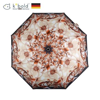 德國kobold酷波德 超輕巧按摩手把 抗UV防曬三折傘- 嬌蕊盛開