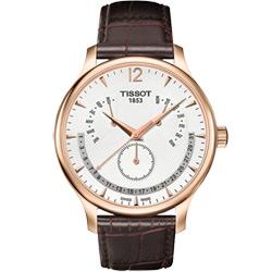 TISSOT Tradition 逆跳復刻經典腕錶-白/42mm