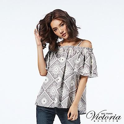 Victoria 活動肩帶抽縐領拉克蘭短袖T-女-白底印花