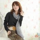 I-shi  韓風斑馬紋黑寬版圍巾(黑白)
