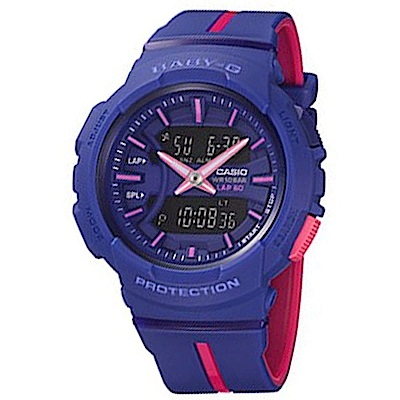 BABY-G亮眼配色慢跑運動服飾風格休閒錶(BGA-240L-2A1)藍X桃紅42.6mm