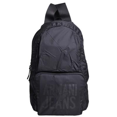 ARMANI JEANS 品牌圖騰LOGO尼龍超輕量後背包(黑)
