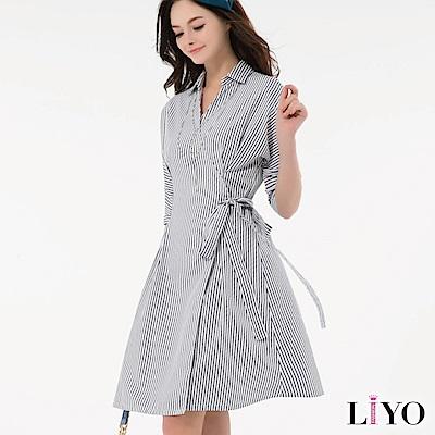 洋裝直紋修身襯衫V領綁帶洋裝 S-2XL LIYO理優