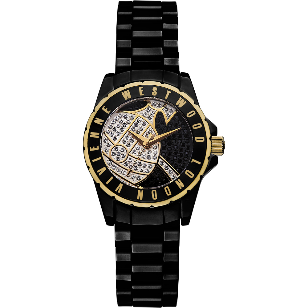 Vivienne Westwood 星球引力晶鑽黑陶瓷腕錶-黑色x金色/30mm