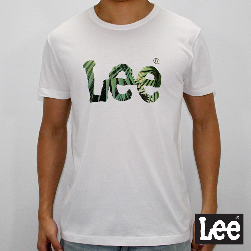 Lee 短袖T恤 logo熱帶葉印花-男款-白色