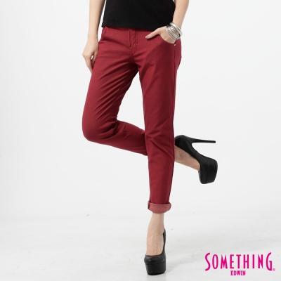 SOMETHING 簡約激瘦窄管彩色牛仔褲-女-朱紅