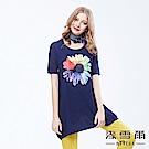 麥雪爾 絲棉彩繪花朵圓領長版上衣