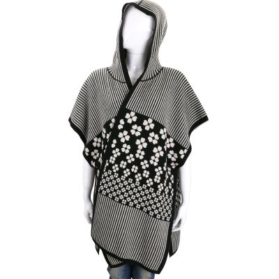 Max Mara 黑白條紋印花針織連帽羊毛披肩
