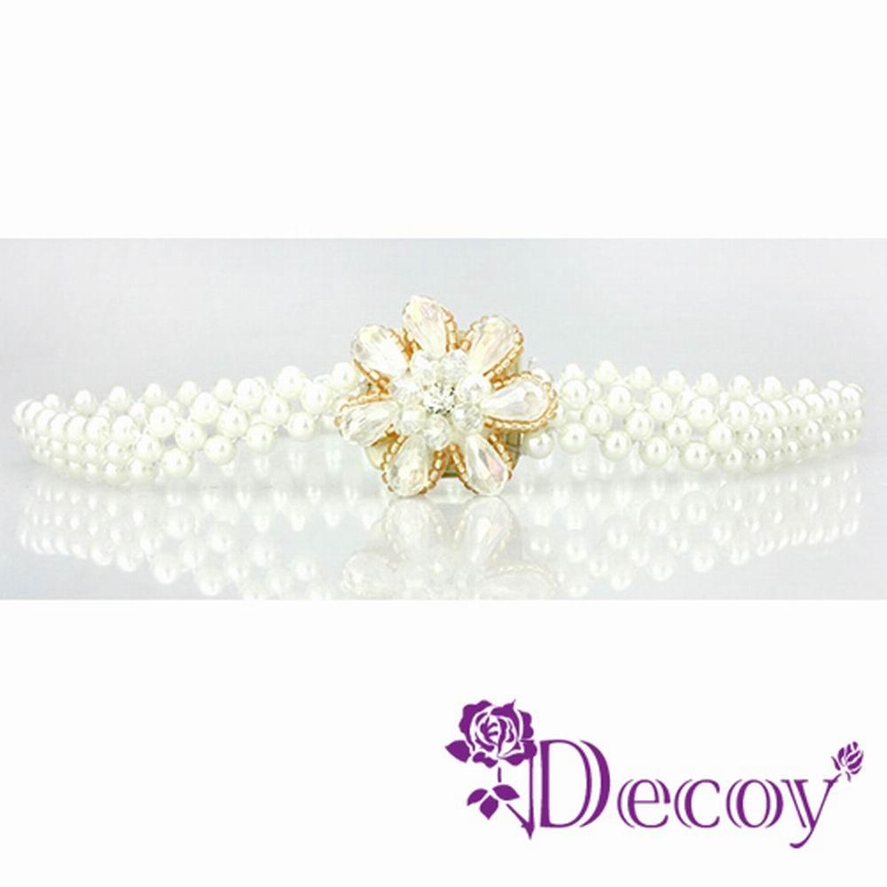 Decoy 白花串珠 彈性編織珍珠腰封