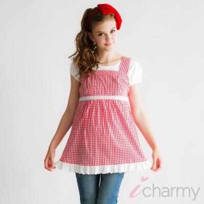 愛俏咪I charmy 紅白格紋蕾絲花邊腰圍鬆緊背心洋裝-紅白(SS3007)