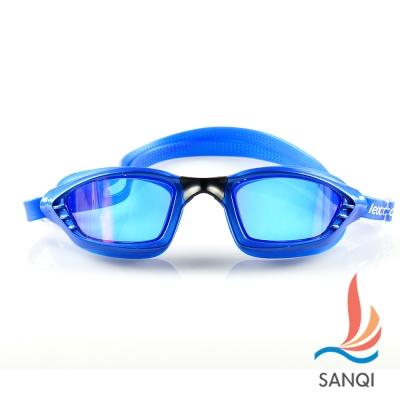 SANQI三奇 夏日必備抗UV防霧休閒泳鏡(9017-藍F)