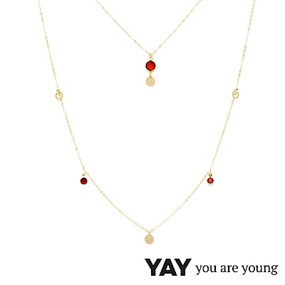 YAY You Are Young 法國品牌 Sultane 紅水晶長項鍊 金色 可調式