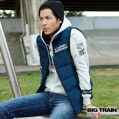 BIG TRAIN 拆脫帽文字絲棉背心-男-藍色