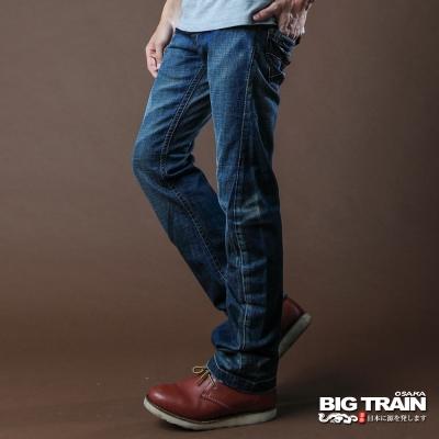 BIG TRAIN-3D剪裁小直筒褲-中藍