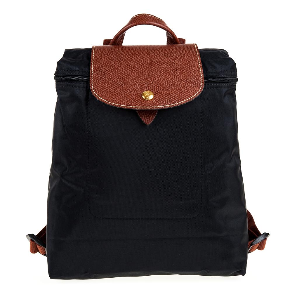 Longchamp Le Piage拉鍊尼龍後背包黑色