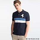 GIORDANO 男裝拿破崙刺繡徽章彈力棉POLO衫-06 標誌海軍藍/標誌白