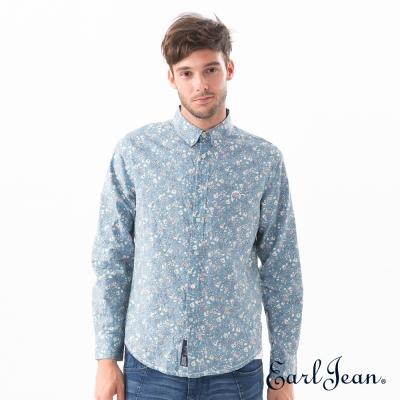 Earl-Jean-水藍滿版碎花襯衫-男