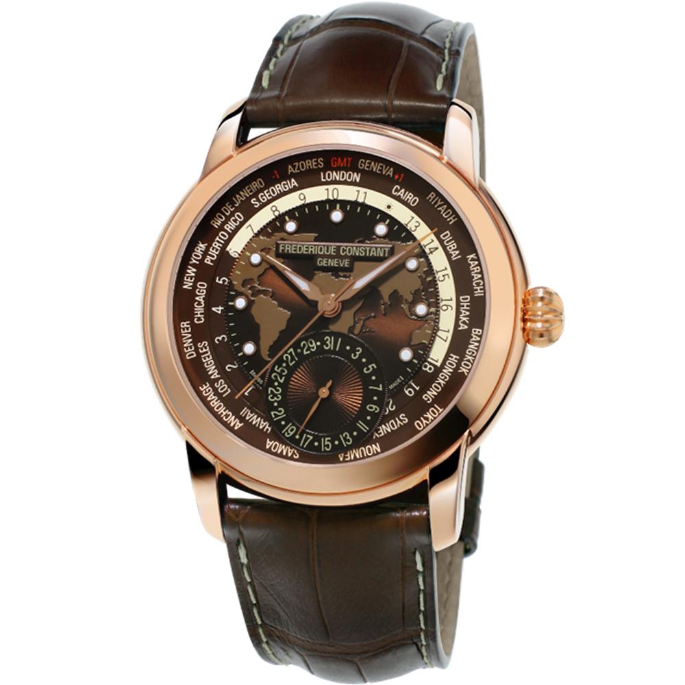 康斯登 CONSTANT自製機芯經典Worldtimer腕錶-42mm/棕色