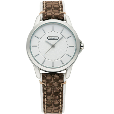 COACH New Signature 優雅姿態時尚腕錶-銀白x咖啡提花/31mm