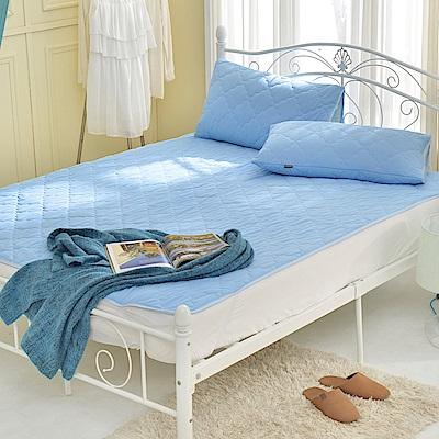 義大利La Belle 粉漾素色 單人涼感抑菌防水平面式保潔墊-藍