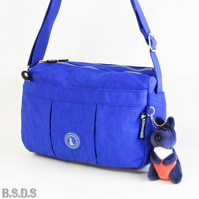 B.S.D.S冰山袋鼠-草原詩集x防水布輕巧型皺褶斜背包-海洋藍