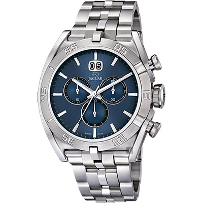 JAGUAR EXECUTIVE 運動計時手錶-藍x銀/46mm