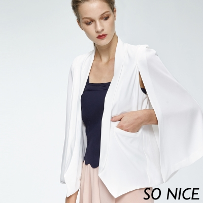 SO NICE時尚白斗篷式外套