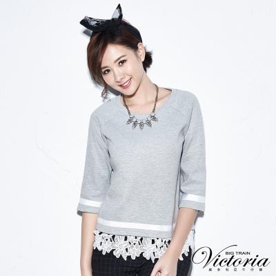 Victoria 緞帶裝飾拉克蘭袖T-女-麻灰