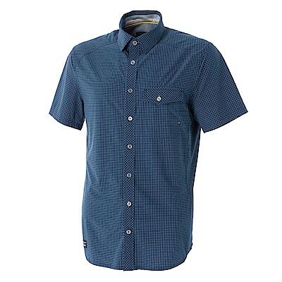 【Wildland 荒野】男彈性格子布短袖襯衫-藍