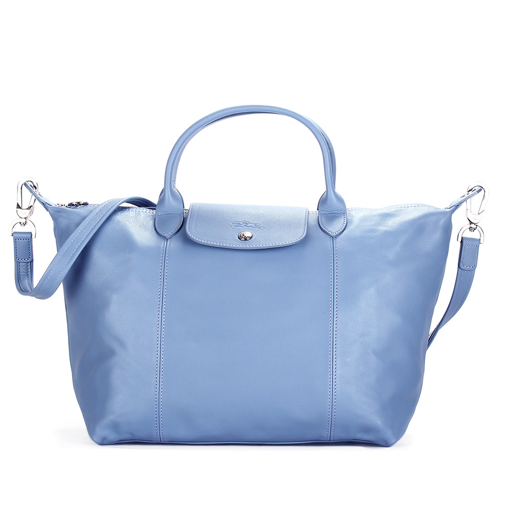Longchamp Le Pliage Cuir小羊皮短把折疊中型水餃包-薄霧藍