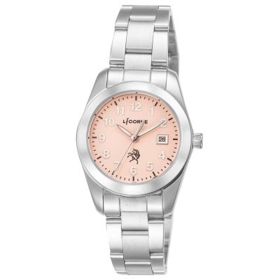 LICORNE力抗錶 經典俐落風格手錶 橘紅x銀/36.5mm