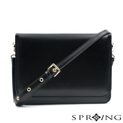 SPRING-斜背包-俐落牛皮信封包-黑