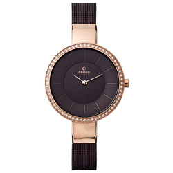 OBAKU 采麗時刻晶鑽米蘭時尚腕錶-玫瑰金x深咖啡/33mm