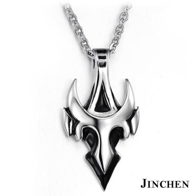 JINCHEN 白鋼牛角項鍊-銀色