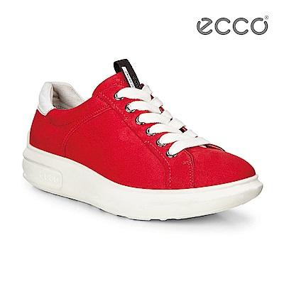 ECCO SOFT 3 活力繽紛厚底增高休閒鞋-紅