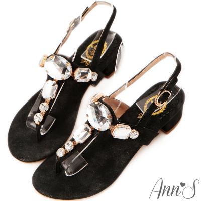 Ann'S華麗質感-方形寶石粗跟涼鞋 黑