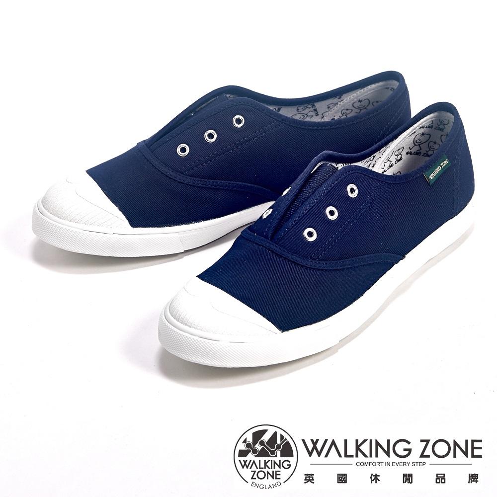 WALKING ZONE 輕盈素面懶人帆布休閒走路鞋女鞋-深藍