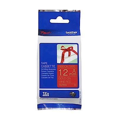 【3入組】Brother TZe-RW34 絲質緞帶標籤帶 ( 12mm 酒紅底金字 )