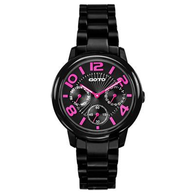 GOTO 躍色潮流時尚陶瓷腕錶-黑x粉紅時標/35mm