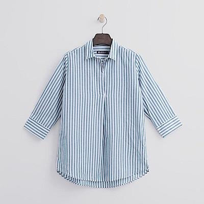 Hang Ten - 女裝 - 半開襟七分袖棉麻襯衫-灰藍色