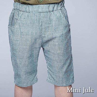 Mini Jule 童裝-短褲 直紋雙口袋鬆緊短褲(綠)