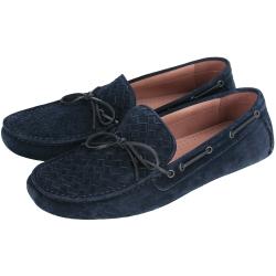 BOTTEGA VENETA 經典編織麂皮莫卡辛鞋(深藍/男)