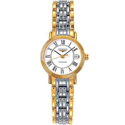 LONGINES浪琴 時尚系列經典優雅腕錶 -銀色+金色/25.5mm