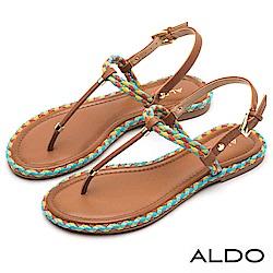 ALDO 雙色麻花編織T字金屬釦帶拉帶式夾腳涼鞋~都會棕色