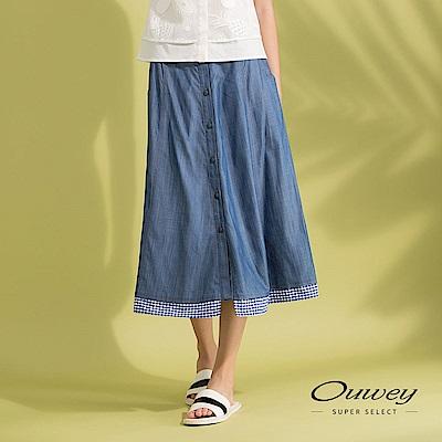 OUWEY歐薇 格紋剪接輕薄牛仔長裙(藍)