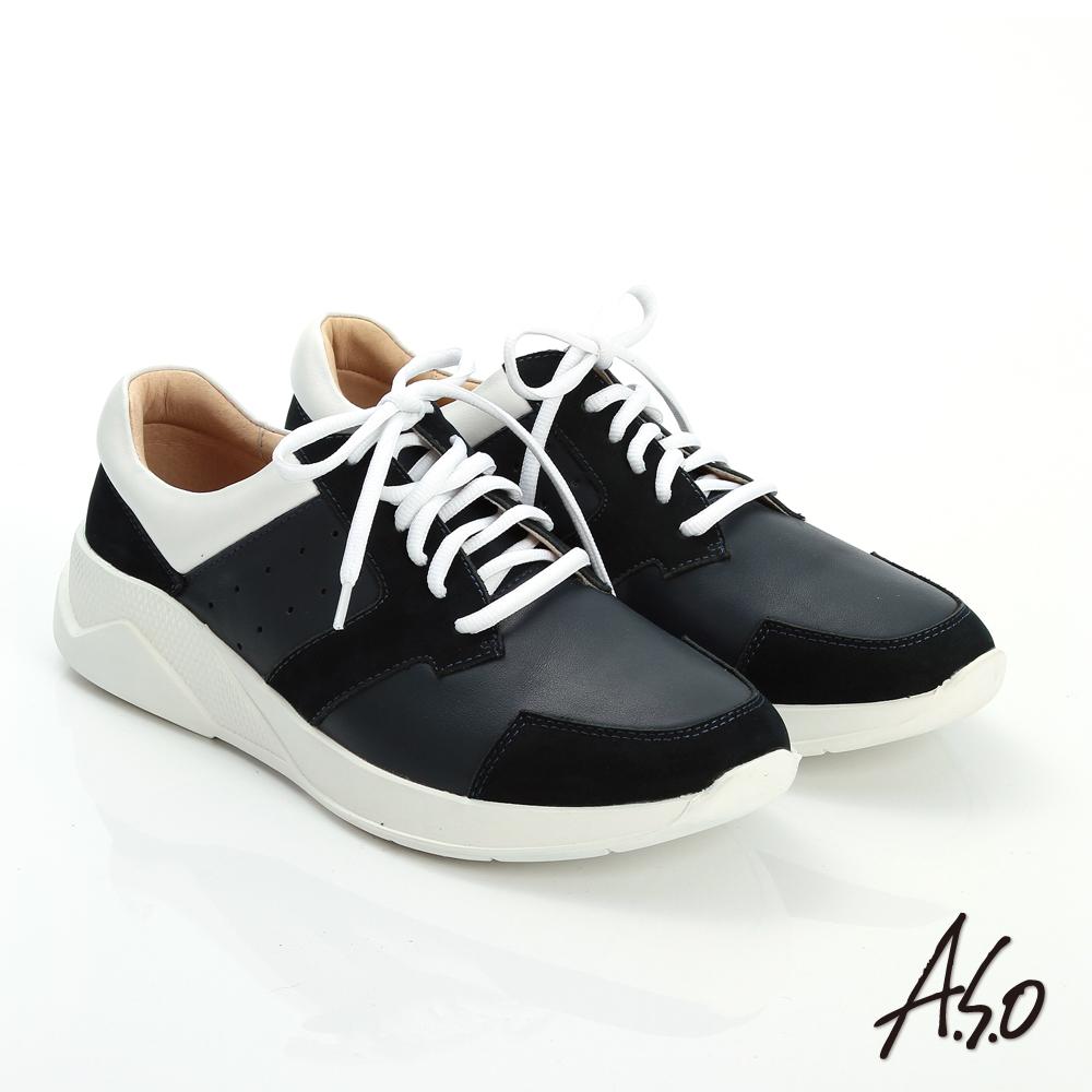 A.S.O 輕量抗震 磨砂真皮綁帶奈米休閒鞋 藍色