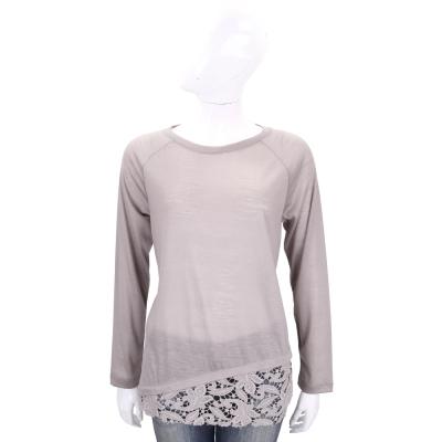 FABIANA FILIPPI 可可色拼接織花羊毛長袖上衣(100%WOOL)
