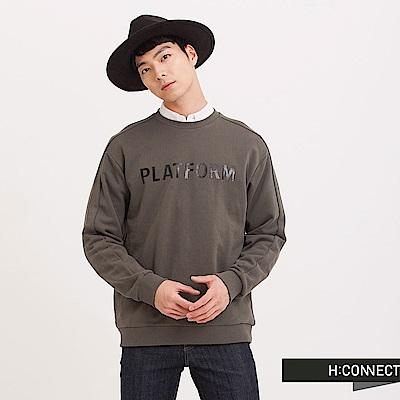 H:CONNECT 韓國品牌 男裝 - 英文印字棉質大學T - 綠