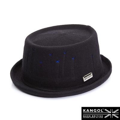 KANGOL-英國袋鼠-街頭系列-破損感藍底紳士帽-黑色