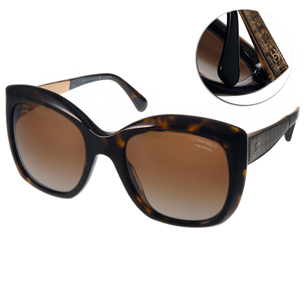 Chanel偏光太陽眼鏡 經典LOGO系列/琥珀棕#CN5347 C714S9
